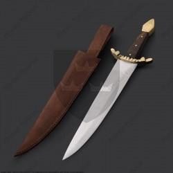 Dague couteau XIIIème siècle avec fourreau en cuir