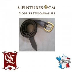 Ceinture en cuir avec boucle historique cousue main 4CM