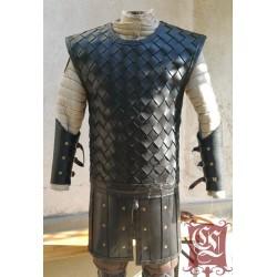 Broigne type Celte/ viking en cuir lamellaire sans manche