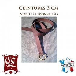 Ceinture en cuir avec boucle historique cousue main 3CM